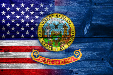 idaho state: USA and Idaho State Flag painted on old wood plank texture Stock Photo
