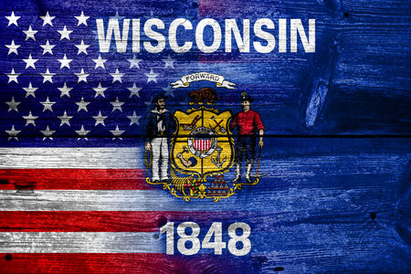 wisconsin state: USA and Wisconsin State Flag painted on old wood plank texture Stock Photo