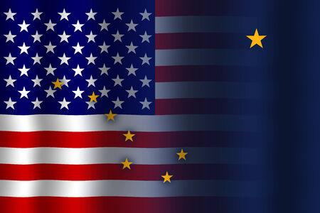 flexure: Waving USA and Alaska State Flag Stock Photo
