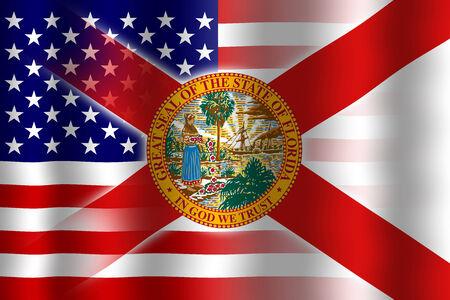 Waving USA and Florida State Flag