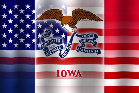 Waving USA and Iowa State Flag