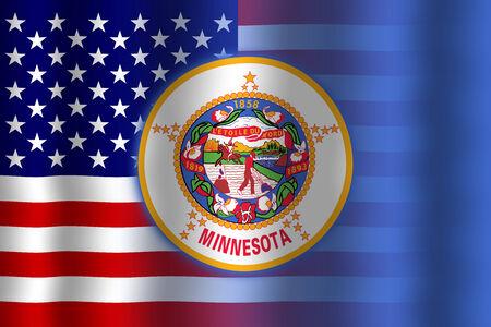 flexure: Waving USA and Minnesota State Flag