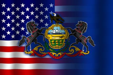 flexure: Waving USA and Pennsylvania State Flag