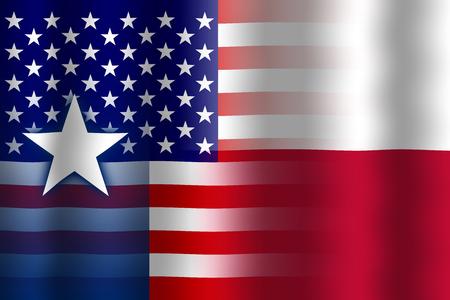 flexure: Waving USA and Texas State Flag Stock Photo