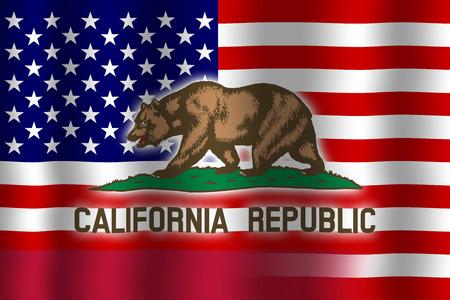 Waving USA and California State Flag Stock Photo