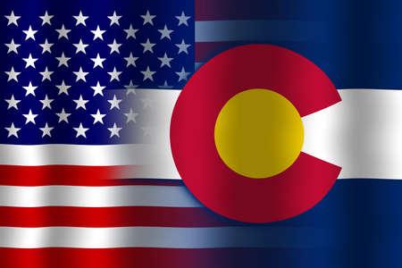 colorado flag: Waving USA and Colorado State Flag Stock Photo
