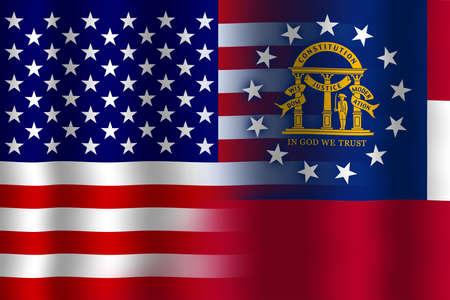 flexure: Waving USA and Georgia State Flag Stock Photo