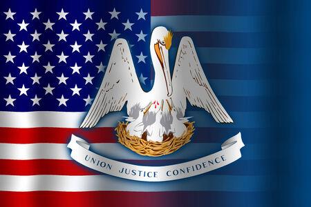 Waving USA and Louisiana State Flag