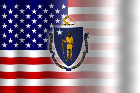 flexure: Waving USA and Massachusetts State Flag