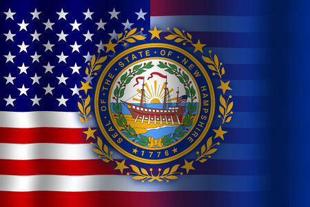 flexure: Waving USA and New Hampshire State Flag
