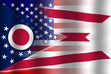 flexure: Waving USA and Ohio State Flag