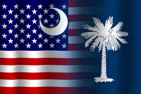 Waving USA and South Carolina State Flag