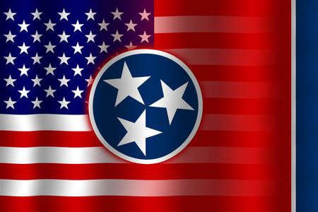 flexure: Waving USA and Tennessee State Flag