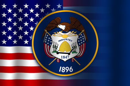 flexure: Waving USA and Utah State Flag Stock Photo