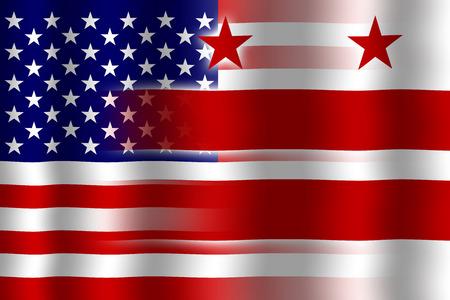 flexure: Waving USA and Washington DC Flag