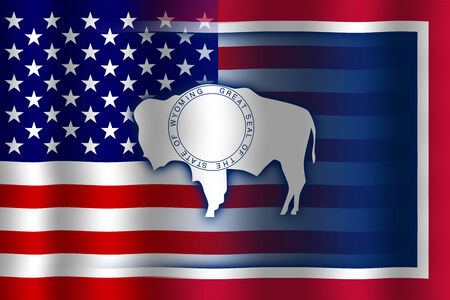 flexure: Waving USA and Wyoming State Flag Stock Photo