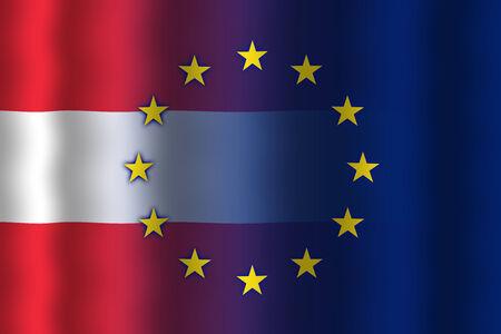 in flexed: Waving Austria and European Union Flag Stock Photo