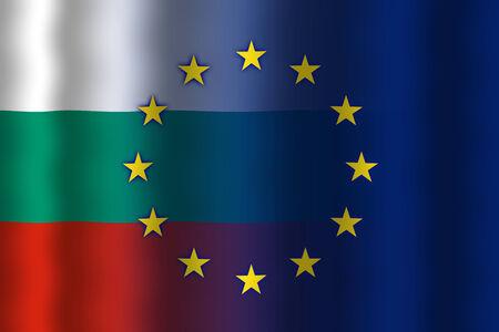 in flexed: Waving Bulgaria and European Union Flag