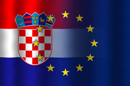 in flexed: Waving Croatia and European Union Flag Stock Photo