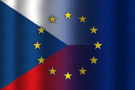in flexed: Waving Czech Republic and European Union Flag