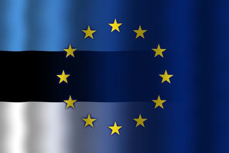 in flexed: Waving Estonia and European Union Flag Stock Photo