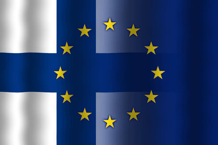 in flexed: Waving Finland and European Union Flag Stock Photo