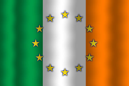 in flexed: Waving Ireland and European Union Flag