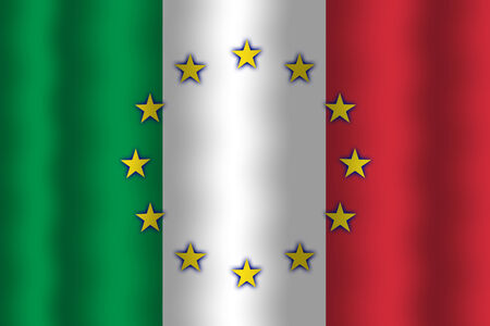 in flexed: Waving Italy and European Union Flag