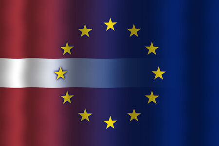in flexed: Waving Latvia and European Union Flag Stock Photo