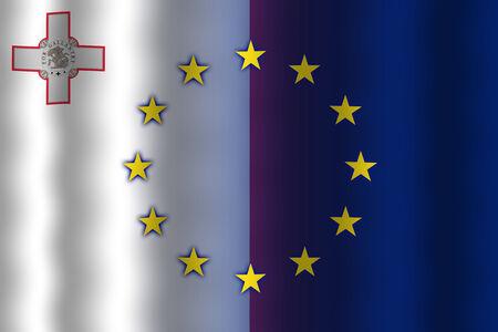 in flexed: Waving Malta and European Union Flag