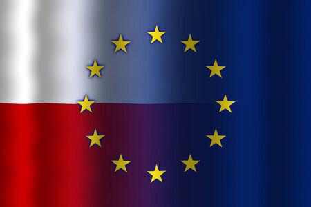 in flexed: Waving Poland and European Union Flag