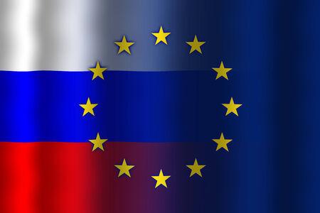 Waving Russia and European Union Flag Stock Photo
