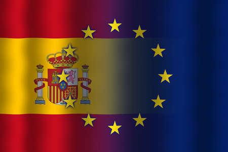 in flexed: Waving Spain and European Union Flag