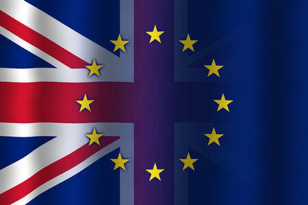 in flexed: Waving United Kingdom and European Union Flag