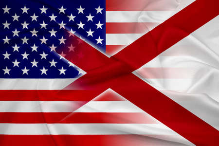 alabama state: Waving USA and Alabama State Flag Stock Photo