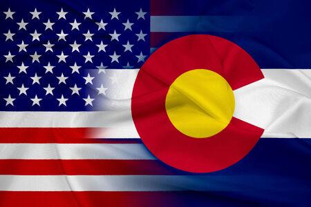 flag of colorado: Waving USA and Colorado State Flag Stock Photo