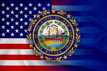 consolidated: Waving USA and New Hampshire State Flag