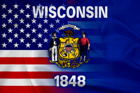 wisconsin state: Waving USA and Wisconsin State Flag
