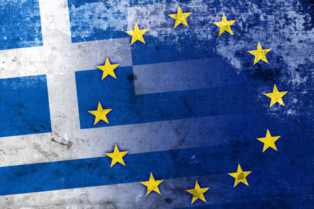 country flags: Greece and European Union Flag with a vintage and old look Stock Photo