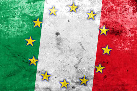 Italy and European Union Flag with a vintage and old look