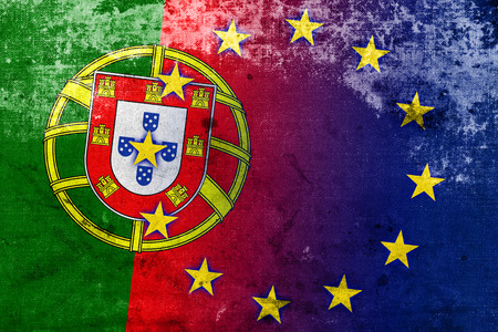 Portugal and European Union Flag with a vintage and old look photo