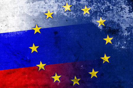 separatist: Russia and European Union Flag with a vintage and old look