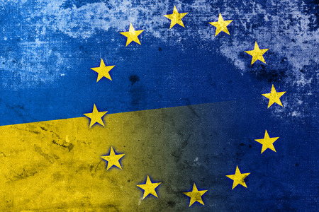 separatist: Ukraine and European Union Flag with a vintage and old look Stock Photo