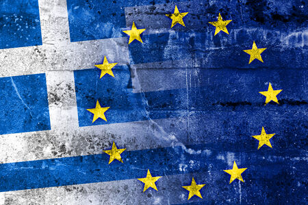 crisis: Greece and European Union Flag painted on grunge wall