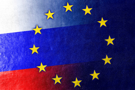 separatist: Russia and European Union Flag painted on leather texture Stock Photo