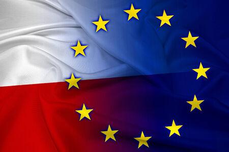 Waving Poland and European Union Flag photo