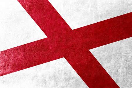 alabama flag: Alabama State Flag painted on leather texture Stock Photo