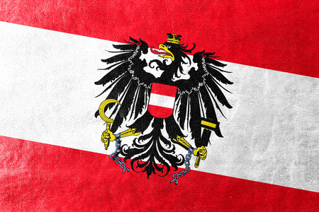 austria flag: Austria Flag painted on leather texture