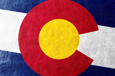 colorado flag: Colorado State Flag painted on leather texture