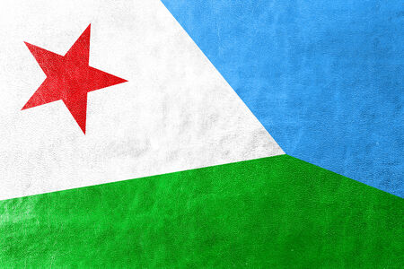 djibouti: Djibouti Flag painted on leather texture Stock Photo
